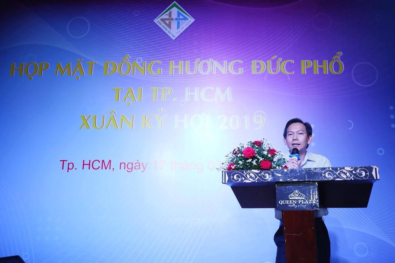 Ông Nguyễn Văn Bình, trưởng BLL đồng hương Đức Phổ tại Tp.HCM phát biểu